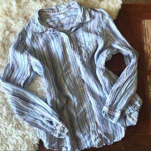 Gap | Blue & White Striped Linen Boyfriend Shirt